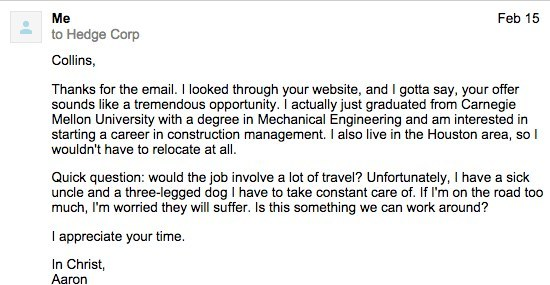 Email asking if I'd need to travel much for the job
