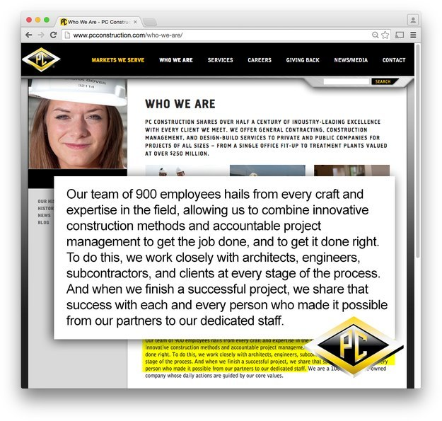 PC Construction's homepage