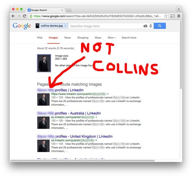 Reverse image search of Collins Davies's picture